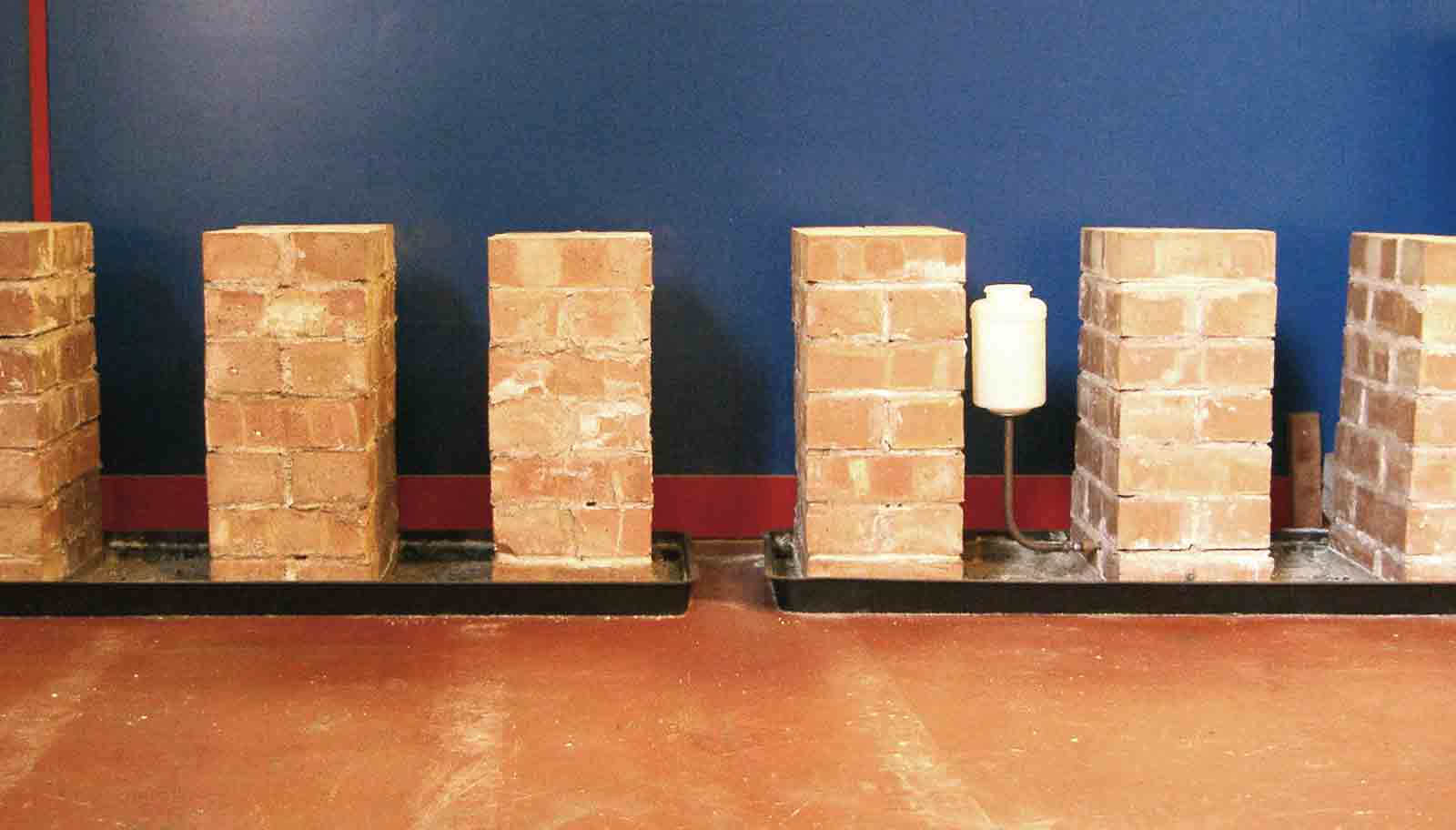 Rising damp brick pillar test